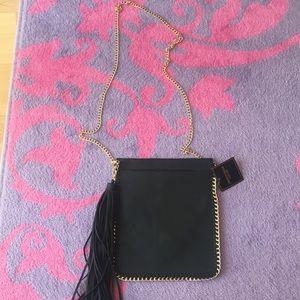 Handbags - Chained Fringe Black Bag